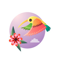 Flying hummingbirds with color plumage and flower vector