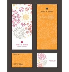 folk floral circles abstract vertical frame vector image