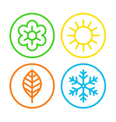 Four seasons icon set vector