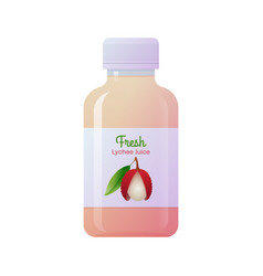 Fresh lychee juice glass bottle vector