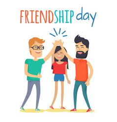 friends celebrating friendship day concept vector image vector image