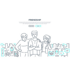 Friendship - line design style banner with place vector