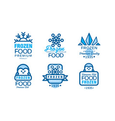 frozen product logo or badge with snowflake and vector image
