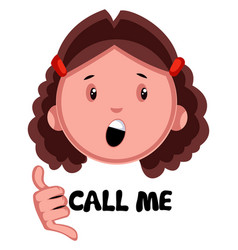 girl showing call me on white background vector image