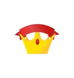 Golden crown with red riibbon icon cartoon style vector