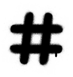 Graffiti hashtag leaking in black over white vector
