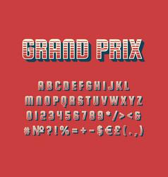 Grand prix vintage 3d alphabet set vector