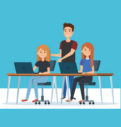 Group of young people in the workplace avatars vector