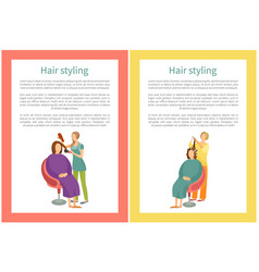 Hair styling procedure in salon woman hairdresser vector
