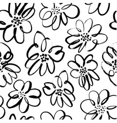 hand drawn brush black flowers seamless pattern vector image