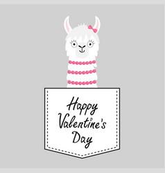 Happy valentines day llama alpaca face head vector