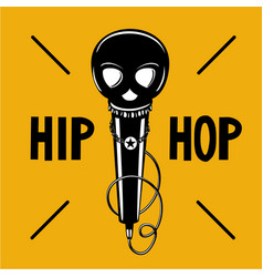 Hip-hop party poster with microphone and skull vector