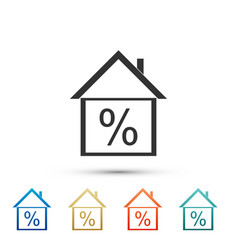 house with discount tag icon on white background vector image