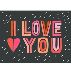 I love you hand lettering with decoration elements vector