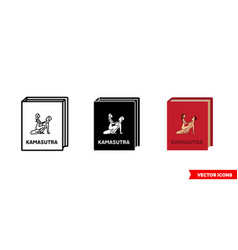 kamasutra book icon 3 types color black and vector image