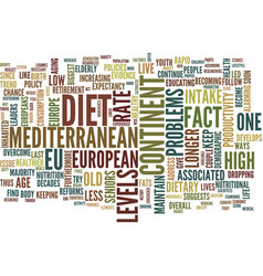 Live longer with the mediterranean diet text vector