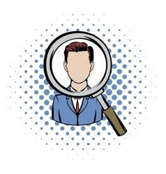 Magnifying glass focused on a person comics icon vector image