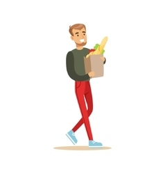 Man With Paper Bag Of Groceries Shopping In vector