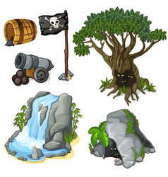 Mystical tree cave waterfall and pirate symbols vector
