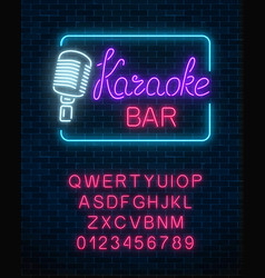 Neon signboard of karaoke music bar with alphabet vector