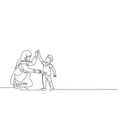 One single line drawing young arabian mom vector