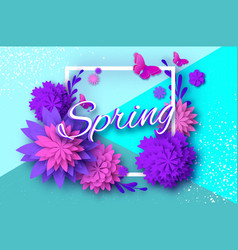 Origami violet spring flowers card butterfly vector