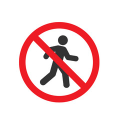 Pedestrian prohibited sign vector