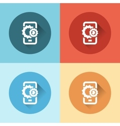 Phone with gears flat icons vector