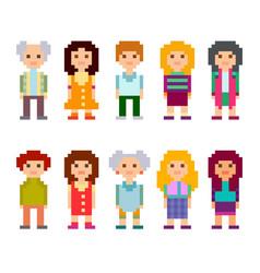 Pixel art style cartoon characters vector