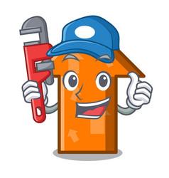 Plumber arrow mascot cartoon style vector