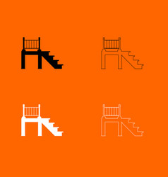 porch black and white set icon vector image