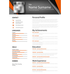 Professional abstract personal resume cv with vector