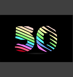 rainbow 50 fifty number stripes logo icon design vector image