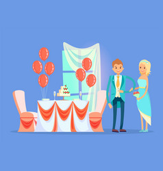 Restaurant table with wedding cake married couple vector