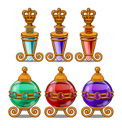 royal perfume bottles with gold ornament and crown vector image