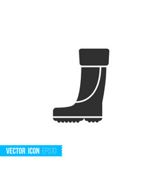 rubber boots for fishing icon in silhouette flat vector image