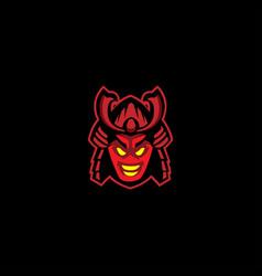 samurai warrior mask logo vector image