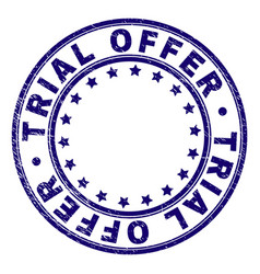 Scratched textured trial offer round stamp seal vector