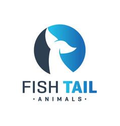 sea fish tail logo vector image