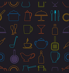 seamless background with icons of utensils vector image