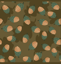 Seamless pattern with acorns scattereed on vector