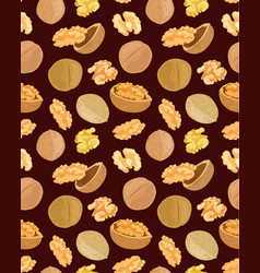 Seamless texture with tasty walnuts on brown vector