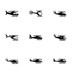 Set black icons on a theme helicopter vector