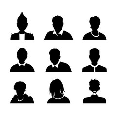 set men and women with business avatar vector image