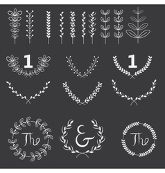 set of branches and wreaths vector image