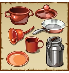 Set of different tableware pots mugs cans vector image