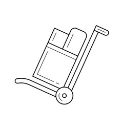 shopping hand cart line icon vector image