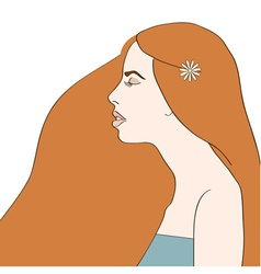 Side view of young woman with long red hair vector image