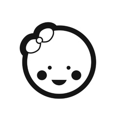 Stylish black and white icon newborn girl vector