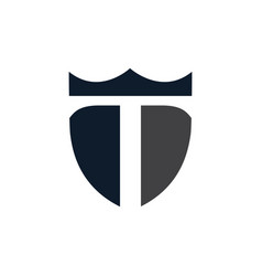 stylized letter t with shield logo icon vector image